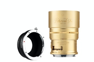 New Petzval 58 Bokeh Control Art Lens Brass - Canon EF Mount with M4/3 Adapter